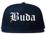 Buda Texas TX Old English Mens Snapback Hat Navy Blue