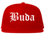 Buda Texas TX Old English Mens Snapback Hat Red