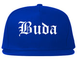 Buda Texas TX Old English Mens Snapback Hat Royal Blue