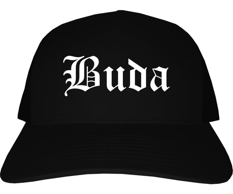 Buda Texas TX Old English Mens Trucker Hat Cap Black