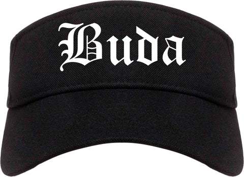 Buda Texas TX Old English Mens Visor Cap Hat Black