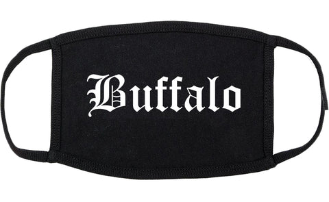 Buffalo Wyoming WY Old English Cotton Face Mask Black