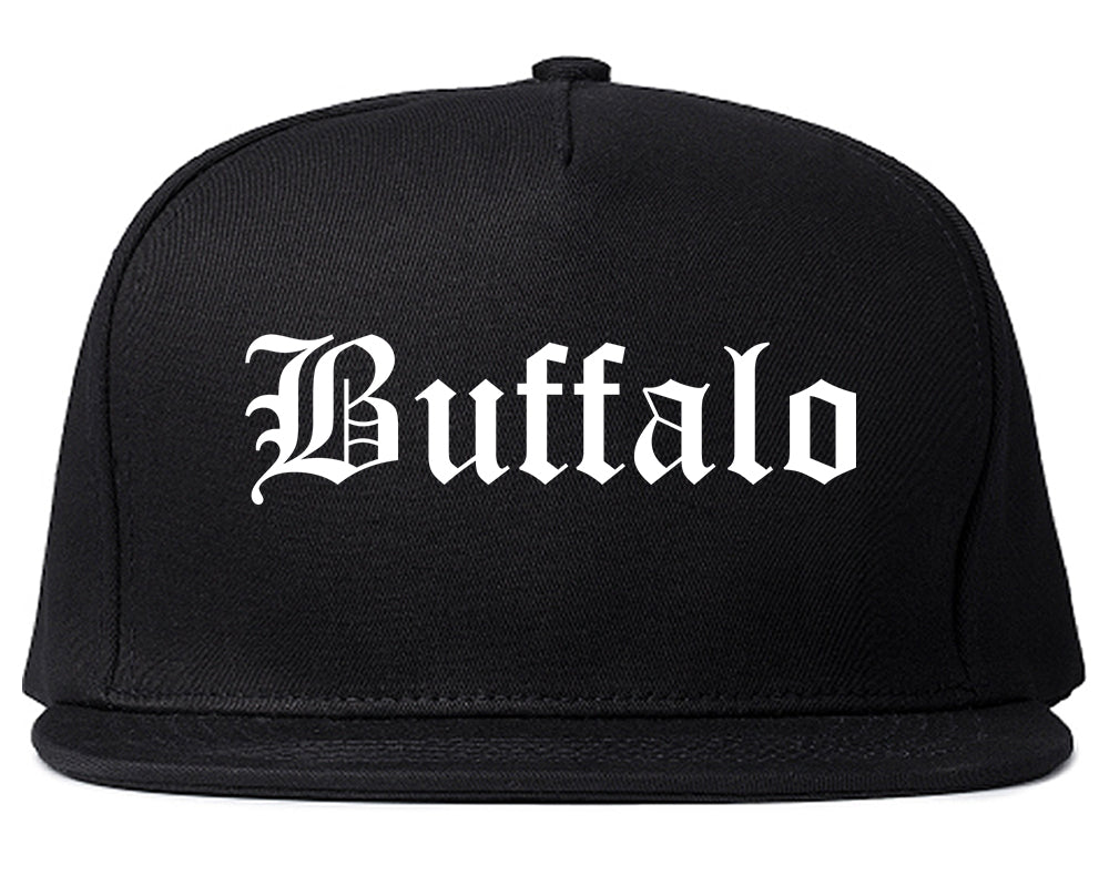 Buffalo Wyoming WY Old English Mens Snapback Hat Black