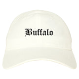Buffalo Wyoming WY Old English Mens Dad Hat Baseball Cap White
