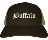 Buffalo Wyoming WY Old English Mens Trucker Hat Cap Brown
