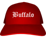 Buffalo Wyoming WY Old English Mens Trucker Hat Cap Red