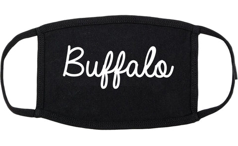 Buffalo Wyoming WY Script Cotton Face Mask Black