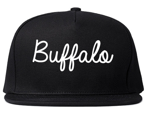 Buffalo Wyoming WY Script Mens Snapback Hat Black