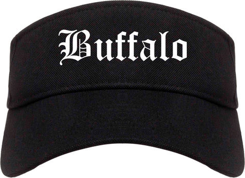 Buffalo Wyoming WY Old English Mens Visor Cap Hat Black