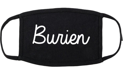 Burien Washington WA Script Cotton Face Mask Black