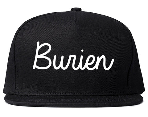 Burien Washington WA Script Mens Snapback Hat Black
