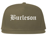 Burleson Texas TX Old English Mens Snapback Hat Grey