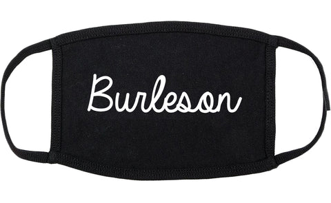 Burleson Texas TX Script Cotton Face Mask Black