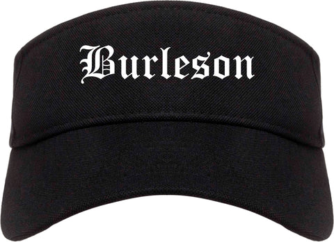 Burleson Texas TX Old English Mens Visor Cap Hat Black
