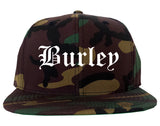 Burley Idaho ID Old English Mens Snapback Hat Army Camo