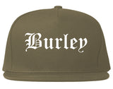 Burley Idaho ID Old English Mens Snapback Hat Grey