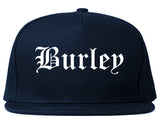 Burley Idaho ID Old English Mens Snapback Hat Navy Blue