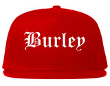 Burley Idaho ID Old English Mens Snapback Hat Red