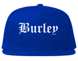 Burley Idaho ID Old English Mens Snapback Hat Royal Blue