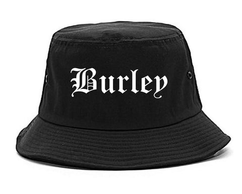Burley Idaho ID Old English Mens Bucket Hat Black