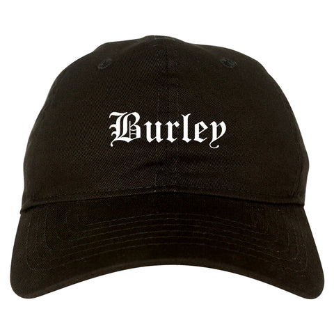 Burley Idaho ID Old English Mens Dad Hat Baseball Cap Black