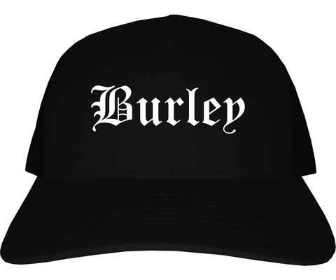 Burley Idaho ID Old English Mens Trucker Hat Cap Black