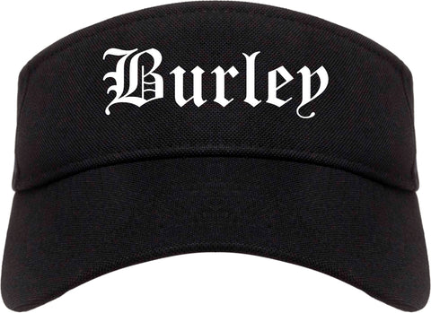 Burley Idaho ID Old English Mens Visor Cap Hat Black