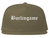 Burlingame California CA Old English Mens Snapback Hat Grey