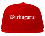 Burlingame California CA Old English Mens Snapback Hat Red
