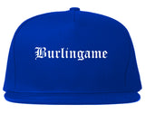 Burlingame California CA Old English Mens Snapback Hat Royal Blue