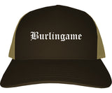 Burlingame California CA Old English Mens Trucker Hat Cap Brown