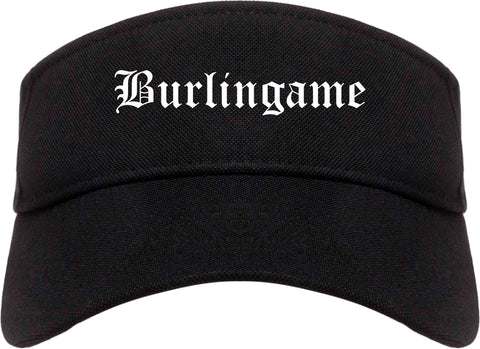 Burlingame California CA Old English Mens Visor Cap Hat Black