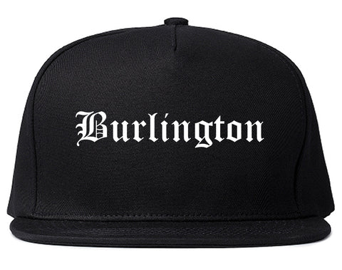 Burlington Iowa IA Old English Mens Snapback Hat Black