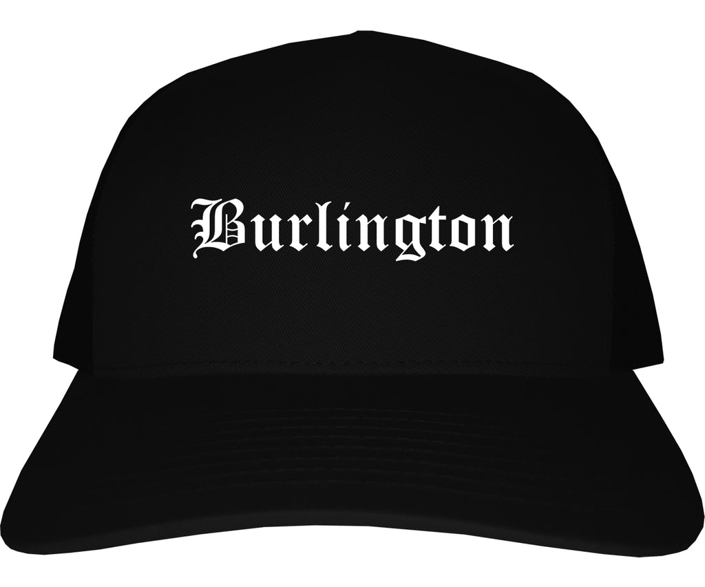 Burlington New Jersey NJ Old English Mens Trucker Hat Cap Black