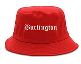 Burlington North Carolina NC Old English Mens Bucket Hat Red