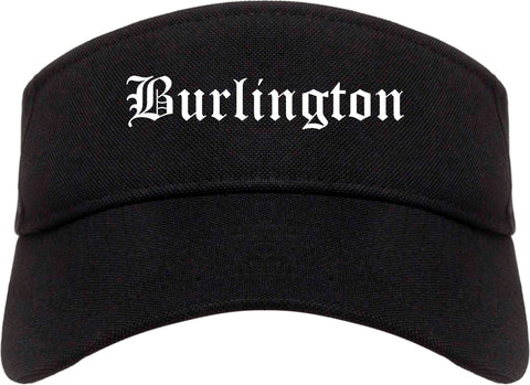 Burlington North Carolina NC Old English Mens Visor Cap Hat Black