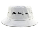 Burlington North Carolina NC Old English Mens Bucket Hat White