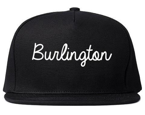 Burlington Washington WA Script Mens Snapback Hat Black