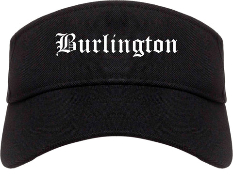 Burlington Washington WA Old English Mens Visor Cap Hat Black