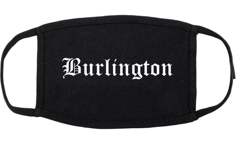 Burlington Wisconsin WI Old English Cotton Face Mask Black