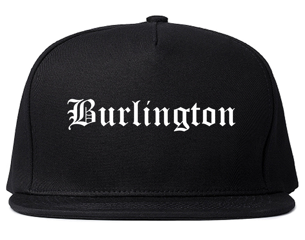 Burlington Wisconsin WI Old English Mens Snapback Hat Black