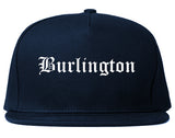 Burlington Wisconsin WI Old English Mens Snapback Hat Navy Blue