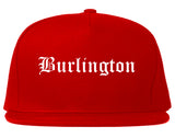 Burlington Wisconsin WI Old English Mens Snapback Hat Red