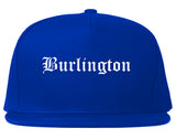 Burlington Wisconsin WI Old English Mens Snapback Hat Royal Blue