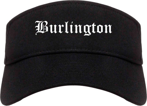 Burlington Wisconsin WI Old English Mens Visor Cap Hat Black