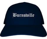 Burnsville Minnesota MN Old English Mens Trucker Hat Cap Navy Blue