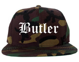Butler Missouri MO Old English Mens Snapback Hat Army Camo