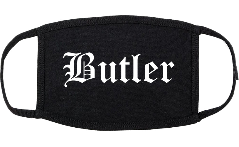 Butler New Jersey NJ Old English Cotton Face Mask Black