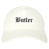 Butler New Jersey NJ Old English Mens Dad Hat Baseball Cap White