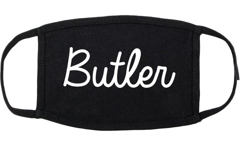Butler New Jersey NJ Script Cotton Face Mask Black